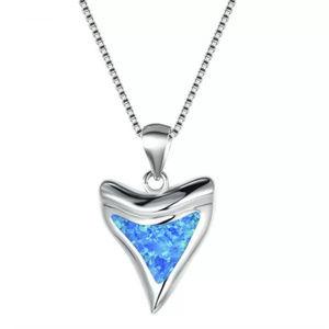 Blue Fire Opal Shark Tooth Pendant & Necklace